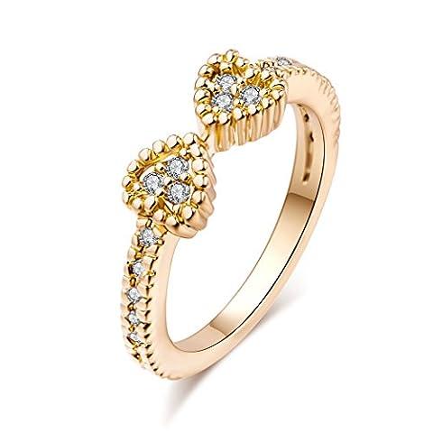 YAZILIND anneau en zircon cubique à double coeur plaqué or