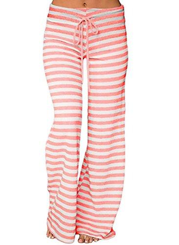Donna Pantaloni Moda Giovane Eleganti Vita Alta Coulisse A Righe Larghi Gamba Moda Bloomers Harem Pantaloni Casual Pantaloni Di Yoga Casual Lunghi Trousers Rose