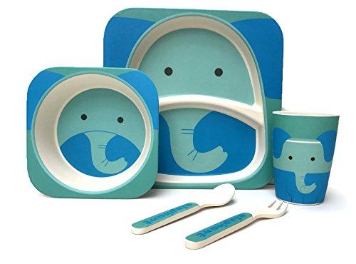Pour-enfant-5-pices-en-bambou-de-table–100-fibre-de-bambou-respectueux-de-lenvironnement-passe-au-lave-vaisselle-lphant