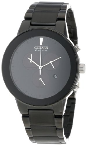 Citizen AT2245-57E Men's Axiom Eco-Drive Black Dial Black IP Steel Bracelet Chronograph Watch - Citizen Eco Drive Mens Chronograph