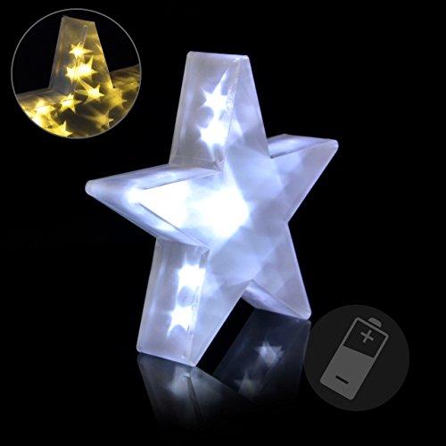 PVC Stern 3D Holografie-Effekt Weihnachtsstern 30 cm 10 LED weiss Batterie Weihnachtsdekoration LED Leuchte mit Partydeko Fensterdeko Lichterdeko Xmas