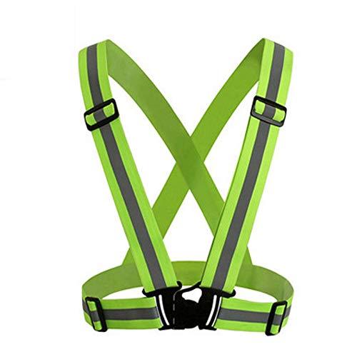 ALEMIN Einstellbare reflektierende Sicherheitsweste, Unisex High Visibility Reflective Fluorescent Belt für Nachtlauf Radfahren Motorrad Dog Walk, Grün 2 Traffic Safety Vest