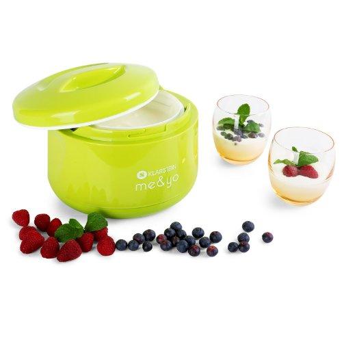 Klarstein Me&Yo Máquina para hacer yogur (1L, eleboración yogur natural, soja y cuajada, producción 10 - 12 horas, no precisa energía electrica) Verde manzana