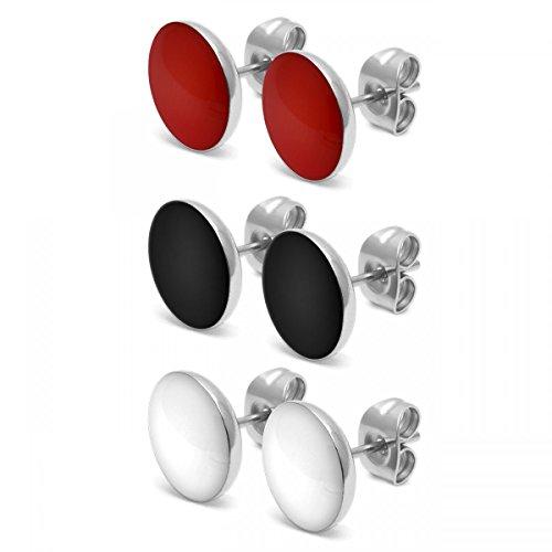 SoulCats® 3 Paar runde Ohrstecker aus Edelstahl als Set in den Farben rot weiß und schwarz, glänzend (Schmuck-set Und Schwarz Rot)