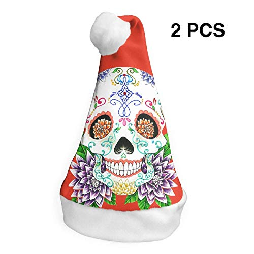 Day of the Dead Sugar Skull Merry Christmas Hüte Erwachsene Kinder Kostüm Xmas Decor Party Supplies (2er-Pack) ()