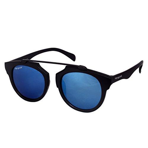Elegante\' Blue Mirrored Unisex Round Sunglasses (Model : elt-11003/M)