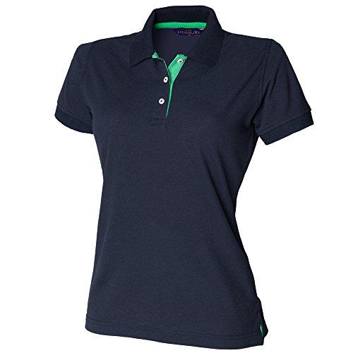 Henbury - Polo - Femme Bleu - Navy / Bright Green