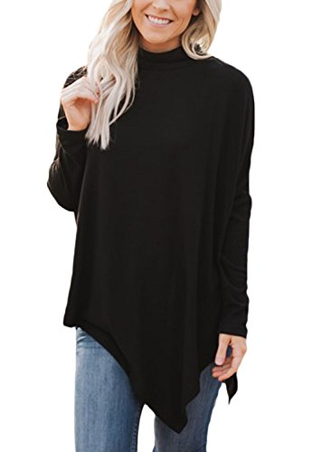 GOSOPIN Frauen Sweatshirt Rollkragen Locker Winter Slim Fit Bluse Langarm Hi-lo Freizeit Sweater Schwarz XXL