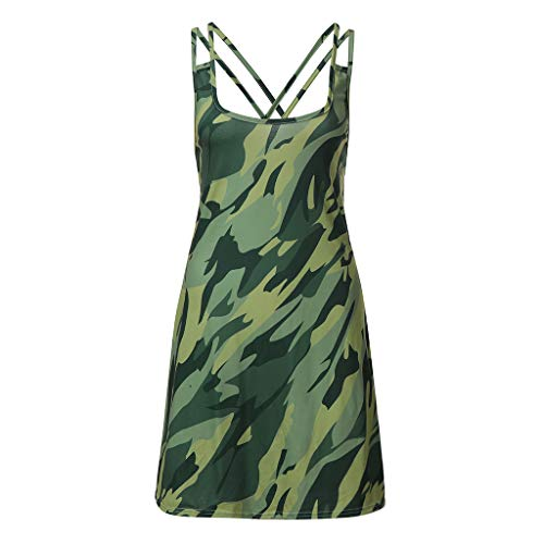 ermode Frauen Sexy Tank Kleid Dünne Beiläufige Tarnung Military O Neck Gedruckt Kreuz Weste ()