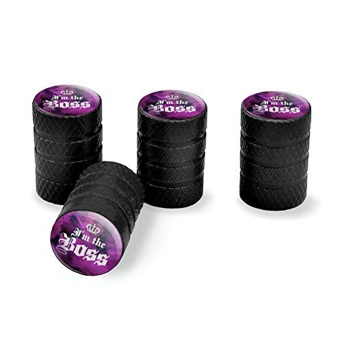 Krone Tire-caps (Grafiken und mehr Ich bin der Chef mit Krone Tire Rand Rad Aluminium Ventil Stem Endkappen–Schwarz)