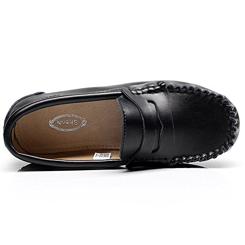 Rismart Hommes Cuir de Vache Flâneurs Large Décontractée Chaussures d'été 9923 Noir