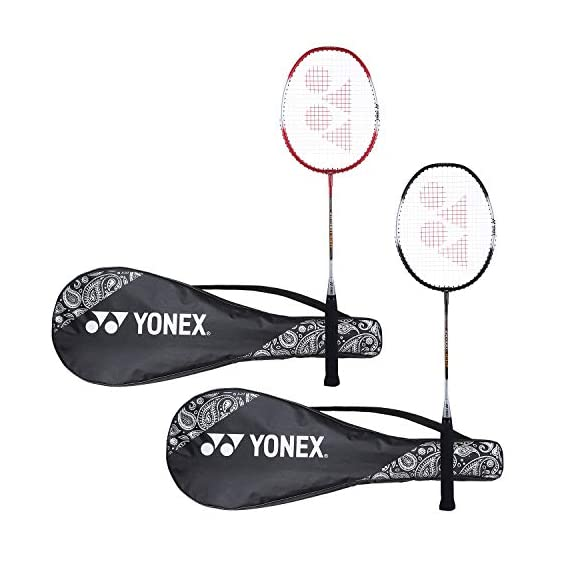 Yonex ZR 100 Light  Aluminum Blend Badminton Racquet with Full Cover, Set of 2 (Black/Red)