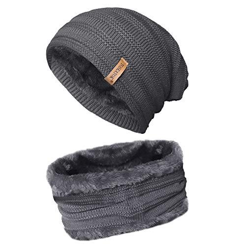 TOSKATOK® Unisex Herren Damen Fleece gefüttert Chunky Knit Slouch Beanie Hut und Halswärmer Snood für Outdoor-Wintersport Skifahren, Wandern Knit Slouch Hut