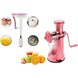 Primelife Combo of Pink Multipurpose Fruit Juicer Vegetable Juicer Plastic Hand Juice + Hand Blender Kitchenware Color May Vary
