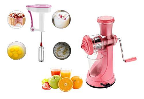Primelife Combo of Pink Multipurpose Fruit Juicer Vegetable Juicer Plastic Hand Juice + Hand Blender Kitchenware Color May Vary