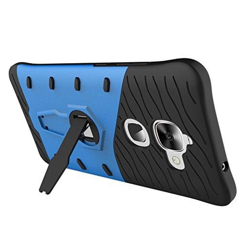 Für LeTV Max2 X820 Fall Neue Rüstung Tough Style Hybrid Dual Layer Rüstung Defender Soft TPU / PC Rückseitige Abdeckungshülle Mit 360 ° Stand [Shockproof Case] ( Color : Blue ) Blue