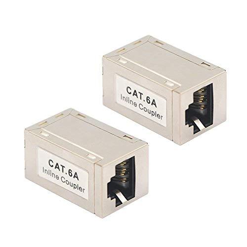 VCE 2 Stück CAT7 CAT6A Ethernet Kupplung Verbinder Modular Geschirmt 2X RJ45 Buchse Adapter POE für Verlängerung Ethernet Kabel -