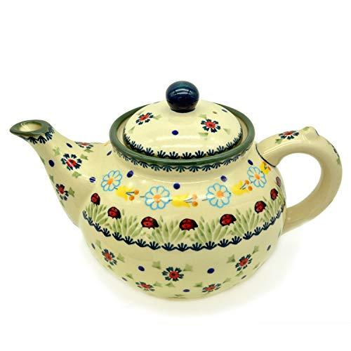 Bunzlauer Teekanne für ca 6 Tassen oder 1,25 Liter (Dekor Marienkäfer)