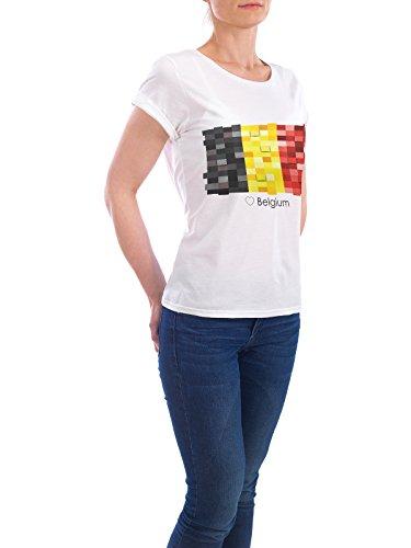 """Design T-Shirt Frauen Earth Positive """"Belgium Flag"""" - stylisches Shirt Reise Reise / Länder von GREENGREENDREAMS Weiß"""