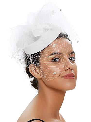 Kostüm Janet Weiss - Zivyes Hochzeit Faszinator Hut 50er Jahre Mottoparty Accessories Halloween Kostüme Kopfschmuck (1-Weiß)