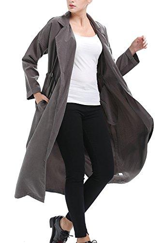 Les Femmes Élégantes De Revers Long Manteau Solide Extérieur De La Tenue De Col Automne Chaud brown