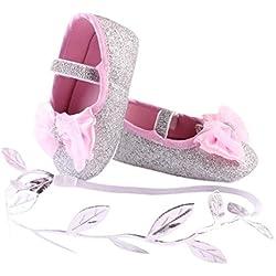Zolimx Neonata Fiore scarpa da tennis delle Anti scivolo morbido + 1pc Cerchietto per capelli (11CM, Argento)