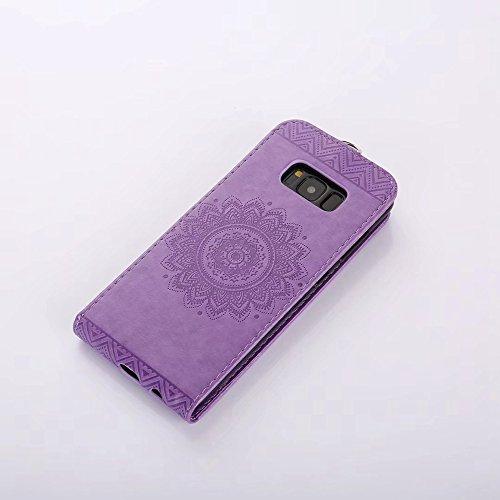 EKINHUI Case Cover Vertikale Flip Stand Case Brieftasche Pouch Style Cover mit geprägten Blumen Blumen & Lanyard & Card Slots für Samsung Galaxy S8 ( Color : Coffee ) Purple