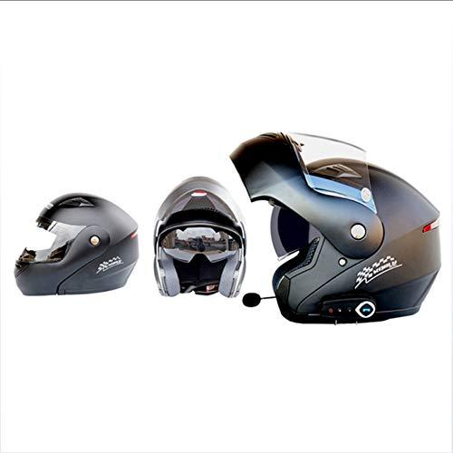GWJ Caschi Moto Modulari Bluetooth + FM DOT Flip Up Touring Caschi Auricolare Bluetooth Dual-Speaker Integrato Con Microfono Per Risposta Automatica,Black,XXL