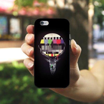 Apple iPhone 5s Housse étui coque protection Dysfonctionnement Dérangement Cerf TV Housse en silicone noir / blanc