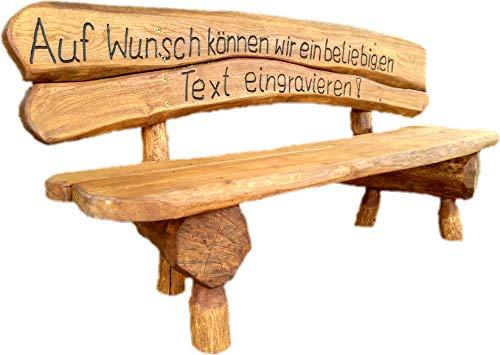 Gartenbank aus Massivholz mit Lasergravur von Ihrem Wunschtext (Zwei Bretter) | Parkbank aus Akazien- und Tannenholz | Perfekt als Hochzeitsgeschenk, Geschenk (Eiche)