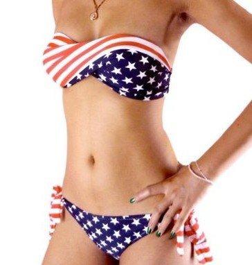 WIIPU Sexy Bikini Twisted Tube American Flag Us Stars Stripes Padded Swimwear Swimsuit(J15)