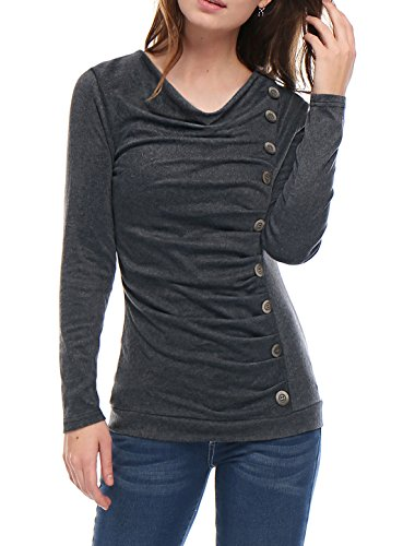 allegra-k-ladies-casual-cowl-neck-button-down-ruched-front-tunics-dark-grey-l