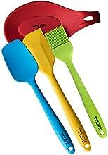 TTLIFE Utensilio de cocina de 4 Piezas Esp?¢tula de Silicona con Espatula-cuchara Esp?¢tula, Brocha de cocina ,Cuchara(colorido )