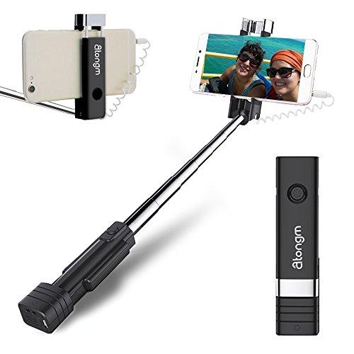 Selfie stange Mini Selfie Stick, atongm Handy Selfie Sticks Erweiterbar Mini Alle in einem Draht Selfie Stick für Handy (iPhone, Android)Black (Bild Stick)