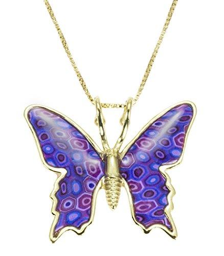 Collier Pendentif Papillon - Bijoux en Argent fin Plaqué Or et Fimo fait main, Chaine en Or Laminé 42cm Violet