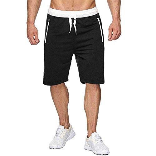 CHYU Herren Sport Joggen und Training Shorts Fitness Kurze Hose Jogging Hose Bermuda Reißverschlusstasch (XXL, Schwarz)