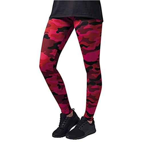 Manadlian Damen und Mädchen Camo Leggings 2018 Neue Frauen Sport Camo Cargo Hosen Jugend Outdoor Casual Camouflage Hosen Jeans Yoga Hose Damen (XL, Rot)
