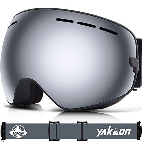 Skibrille, yakaon Y1sphercial Revo Spiegel Objektiv-rutschfeste-Umhängegurt Anti-Fog UV-Schutz Abnehmbare Objektiv & Umhängeband, Herren, Y1, Y1 Grey Frame Silver Lens VLT 7.3%