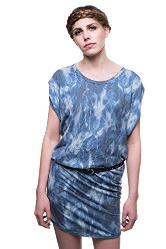 (RobeCode Damen, gemustertes Sommerkleid Waterloo, blaues Jerseykleid im Batik Design)