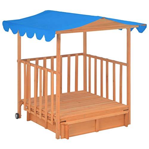 Festnight- Kinderspielhaus mit Sandkasten und UV-Schutzdach Spielhaus Kinderhaus Kinder Spiel Haus Gartenhaus Holz Blau UV50