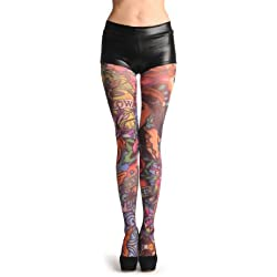 LissKiss A Girl With Flowers Tattoo - Multicolore Collants Taille Unique (34-42)