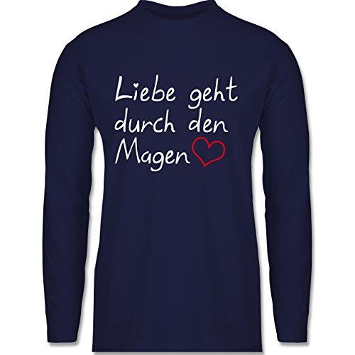 Shirtracer Küche - Liebe Geht durch Den Magen - Herren Langarmshirt Navy Blau