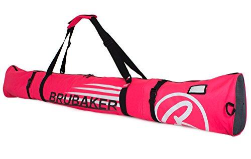 Brubaker Skitasche Carver Champion gepolsterter Skisack für 1 Paar Ski und Stöcke 190 cm Pink Weiss
