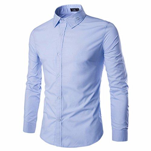 Men's Vestidos Camisa Long Sleeve Dress Shirts Light Blue