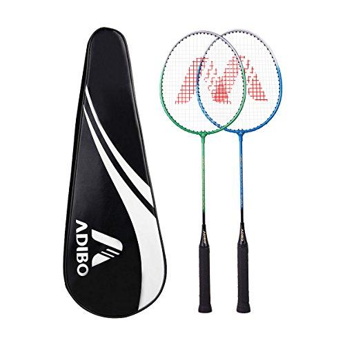 Badminton Set, Adibo 2-Player Badmintonschläger Federballschläger Set für Einsteiger, 2 Schläger und 1 Schlägertasche