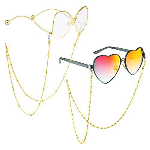 Brillenkette Brillenschnur für Frauen Perlen Brille Kette Rostfreier Stahl Lange Gold Brille Kette Etwa 78cm / 30.7inch 2 Stück