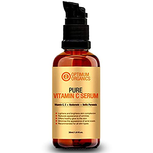 Optimum Organics Vitamin C Serum with Hyaluronic Acid 30% for Face, Body, Skin Whitening and Acne Prone Skin
