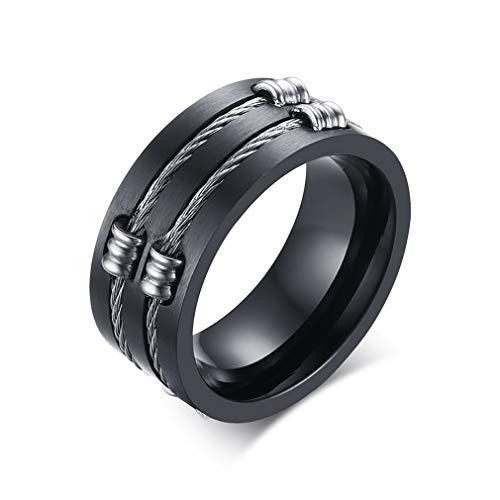 XBYEE Schmuck 10mm Titanium Mens Black Wedding Bands runde Ringe mit Double Wire Kabel in Slit Center Ring (10mm Mens Wedding Schwarz Bands)