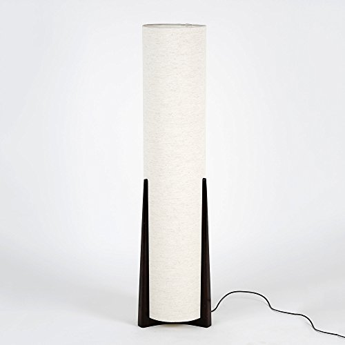 Textured White Handwoven Fabric Shade Designer Wooden Base Cylindrical Floor Lamp
