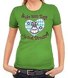 ShirtStreet Gaudi Wiesn Damen Frauen T-Shirt Rundhals Oktoberfest - Wo Zum Deifi is MEI Dirndl 2, Größe: XXL,apfelgrün